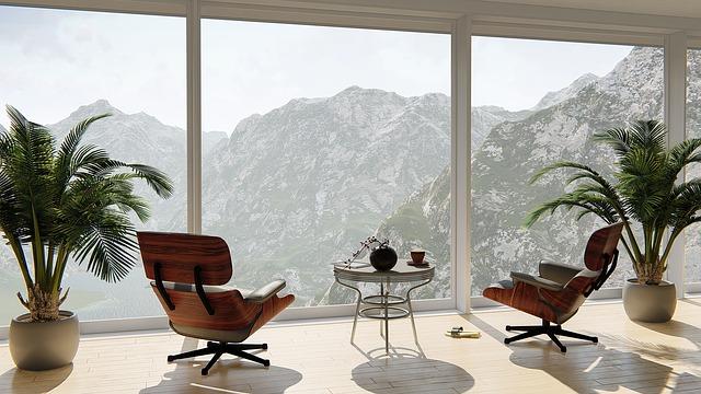 nový byt, pohled na hory